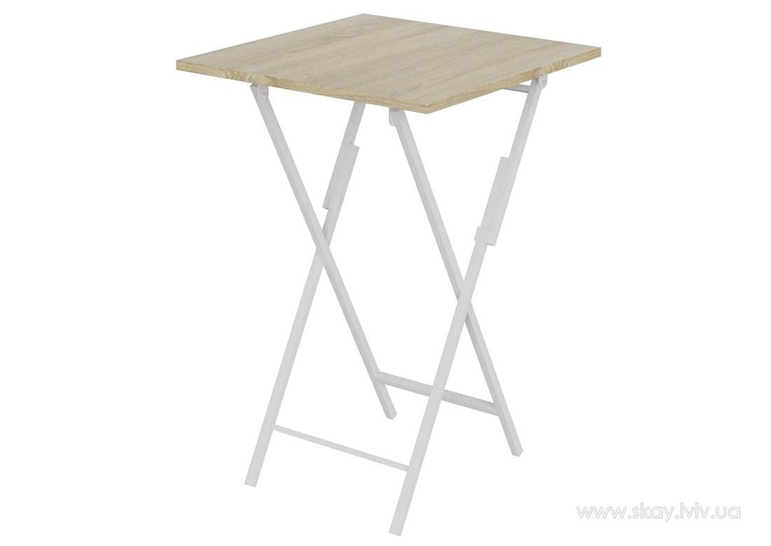 Розкладний стіл Феррумон білий метал + дуб сонома